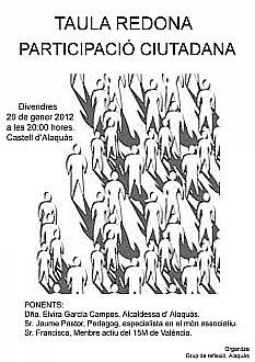 Ajuntament Alaquàs. Agenda. El Castillo de Alaquàs acoge una mesa redonda sobre 'Participación Ciudadana' organizada por el Grupo de Reflexión.