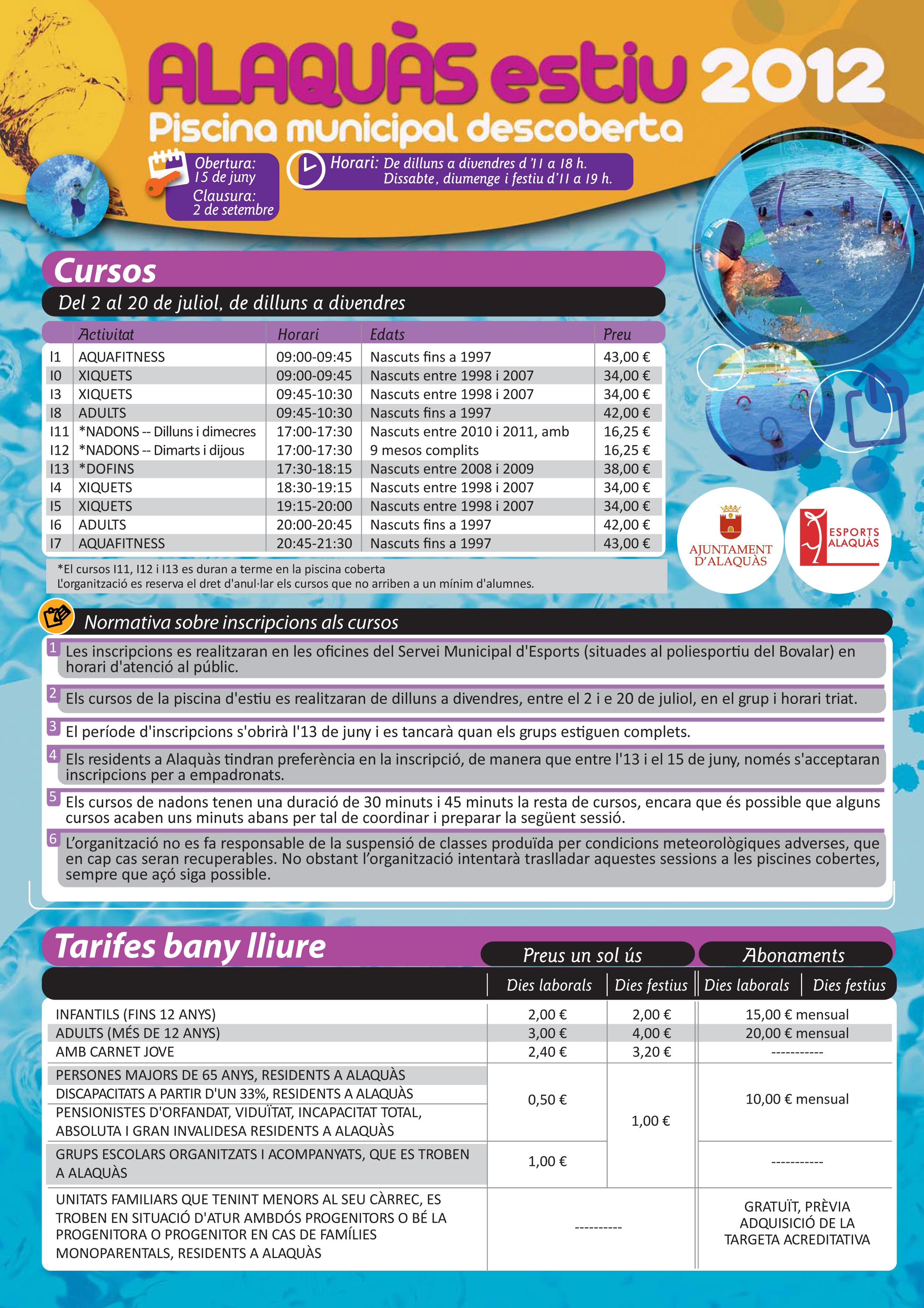 Ajuntament d 39 alaqu s agenda programa y precios piscina de for Piscina de aldaia